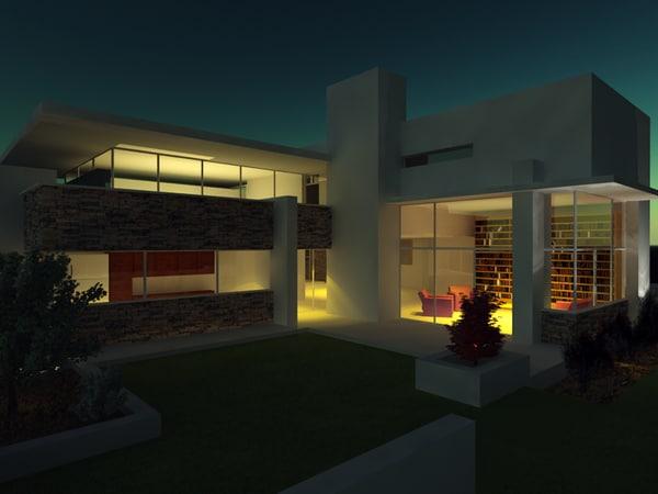 Modern villa 3d model for Model villa moderne