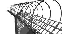 prison fence 3d obj