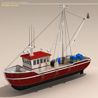 boat fishing 3d c4d