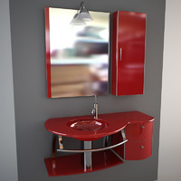 Glass wash-basin with cabinets, mirror and lamp