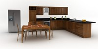 3d fitted kitchen dining table