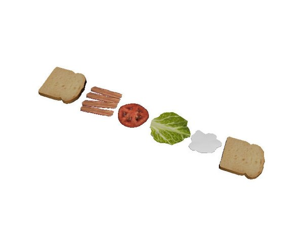 bacon lettuce tomato sandwich 3d 3ds - Bacon Lettuce Tomato... by Switch Designs