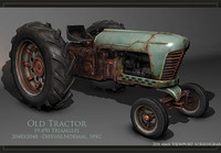 3d model realtime old rusty tractor