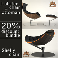 Lobster chair with ottoman + Shelly chair bundle