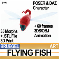 Bruegel Flying Fish Creature Poser Daz Animation Stl