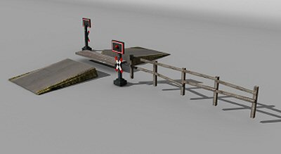 maya railway crossing set - Railway crossing set... by Hespasoft