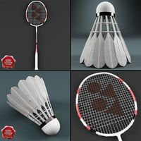 3d model badminton v1 racket shuttlecock