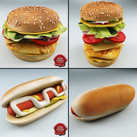3d chicken sandwich hot dog model