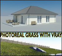 photoreal bungalow grass max