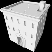 free c4d mode 3-story house roof