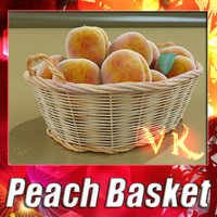 Peach + Wicker Basket 2 + High Resolution Textures
