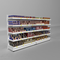 Supermarket Shelves Canned Meals
