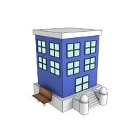 3d cartoon building model
