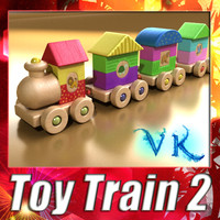Wooden Toys - Wooden Train 02 + High resolution textures.