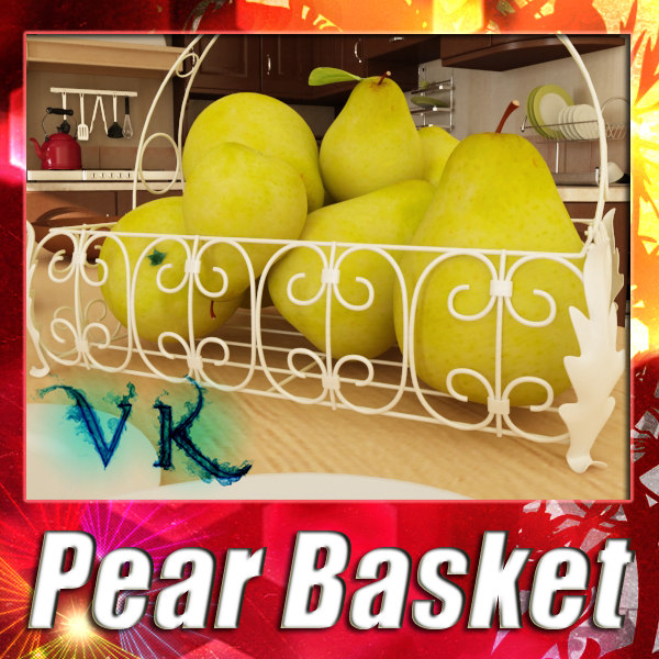 Photorealistic Pear + Fruit Basket 08