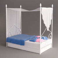 child s canopy bed 3d model