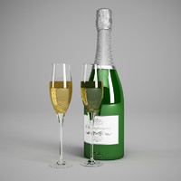 champagne bottle glasses 22 3d model
