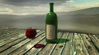3d wine bottle set glas