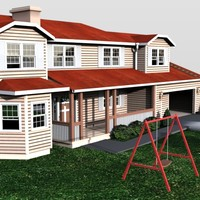 3d model american house