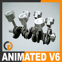 Animated V6 Engine Cylinders