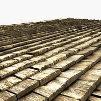 3d model wooden roof