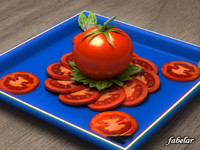 tomato sliced basil 3ds