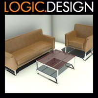 3d sofa armchair table model