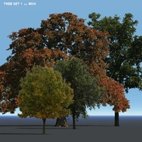set trees 3d obj