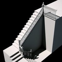 wooden staircase post 3d model