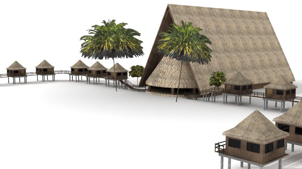 3d lwo tiki hut lodge palm trees for Model beach huts