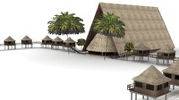 Tiki Hut & Lodge plus Palm Trees