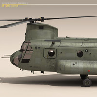 3d ch-47 chinook helicopter army model