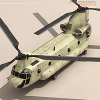 ch-47 army desert chinook helicopter 3d model