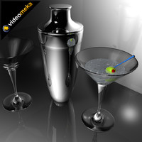 martini glasses and shaker
