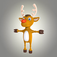 3d cool cartoon christmas deer