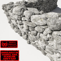 Stone Wall 11 RM19 - Chalk White 3D Rock Wall