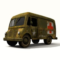 3d model of old army ambulance