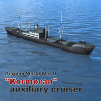 auxiliary cruiser kormoran german 3d 3ds