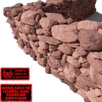 stone wall - rocks 3d model