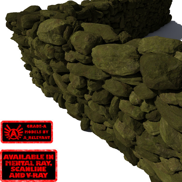 Stone Wall 9 - Mossy 3D Rock Wall
