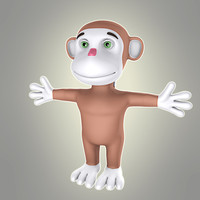 3d simple cartoon monkey model