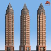 3d messeturm skyscraper landmark tower