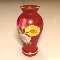 3d decorative red vase