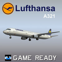 3d model airbus a321 lufthansa airlines