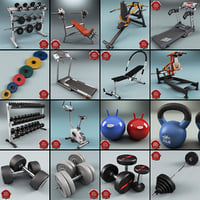 gym equipment v6 3d max