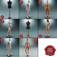 Male female man Mannequin stockman dummy dress store shop boutique fashion character human figure realistic collection set 3d model max vray 3ds