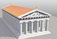 3d model of greek temple roman