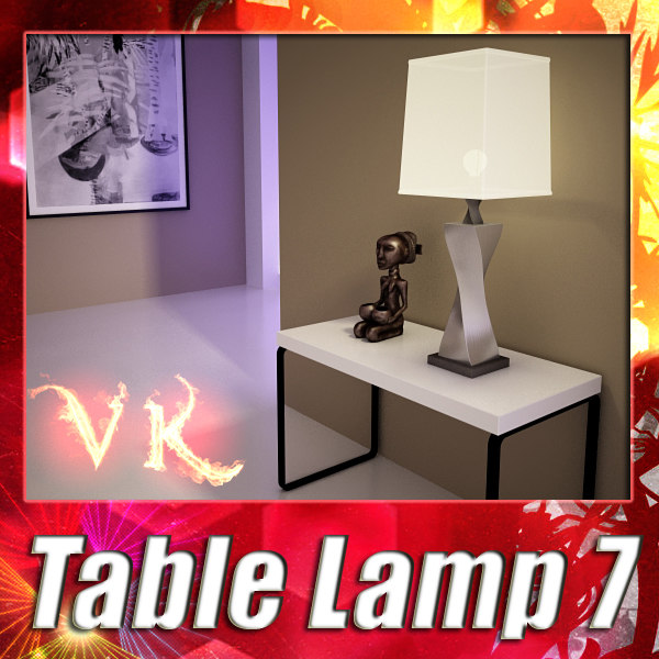 Modern Table Lamp 07 - Antique Silver Lamp