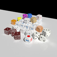 dices plastic white 3d model