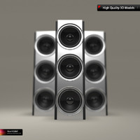 modern chrome speaker 3d model